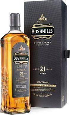bushmills has very nice packaging Good Whiskey, Cigars And Whiskey, Scotch Whiskey, Bourbon Whiskey, Whiskey Bottle, Hard Drinks, Whiskey Brands, Single Malt Whisky, Liquor Bottles