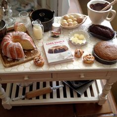 1:12 scale // Miniature country kitchen baking table by Kimsminibakery on Etsy