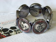 Skull Hearts Goth Love cameo stretch bracelet FREE SHIPPING by WonkyTreasures on Etsy