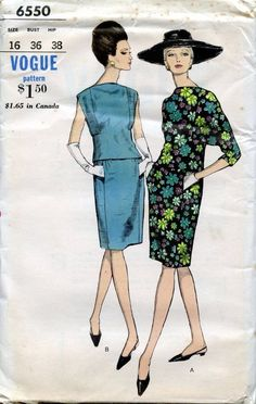 Vogue 6550 Mod 2Pc Dress 60s Sz16/36/28/38 Over blouse has bias cut bodice front and lower back.3/4 length dolman sleeves or cap sleeves. Bateau neckline.Soft, slender skirt has pockets in panel front seams;zipper closing in center back seam.No side seams.FF sld 19.49+2.75 5bds 8/3/15