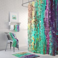 Teal and Purple Mosaic Shower Curtain Set - Morning Has Broken Abstract colorful shower curtain, shower set, extended sizes Shower Mold, Shower Set, White Shower, Shower Liner, Colorful Shower Curtain, Shower Curtain Sets, Shower Curtains, Plywood Furniture, Modern Furniture