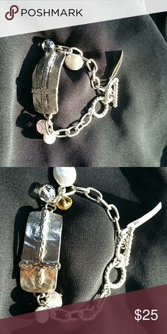 Bracelet Silver tone with cross on the front Accessories