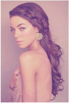 Perfect boho wedding hair. (she is in need of a shirt)
