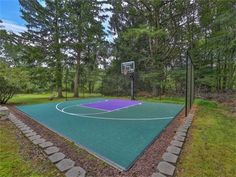 Basketball court fun in backyard in Wall Township, NJ