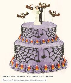 Cute Halloween Wedding Cake!  http://www.wedding-flowers-and-reception-ideas.com/halloween-wedding-cake.html