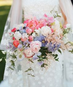 At Southern Weddings you'll find daily Southern wedding inspiration, real Southern weddings, and the best Southern wedding vendors. Summer Wedding Bouquets, Bride Bouquets, Flower Bouquet Wedding, Floral Bouquets, Floral Wedding, Purple Bouquets, Purple Wedding, Spring Wedding, Peach Bouquet