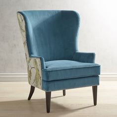 Pier 1 Imports Asher Chair With Peacock Back Detail ($550) ❤ liked on Polyvore featuring home, furniture, chairs, teal, colored chairs, peacock chair, midcentury furniture, mid-century modern furniture and pier 1 imports