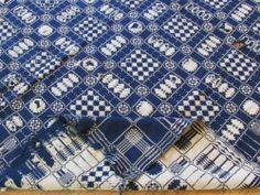 Deep Indigo Blue White Antique Coverlet Trees Center Seam Reversible | eBay