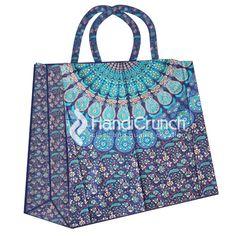 Blue Boho Mandala Print Shopping Handbag Mandala Print, Reusable Tote Bags, Handbags, Boho, Prints, Stuff To Buy, Shopping, Accessories, Style