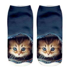Scottish Fold Cat Purple Novelty Cotton Crew Socks Casual Ankle Dress Socks For Men/&Women