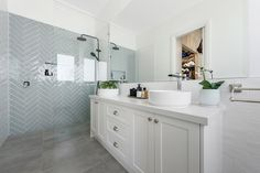 hamptons bathroom with white shaker vanity and blue herringbone tile on shower wall black tapware - Bathroom Ideas Bad Inspiration, Bathroom Inspiration, Bathroom Ideas, Bathroom Organization, Budget Bathroom, Bathroom Storage, Bathroom Vanities, Bathroom Cabinets, Boho Bathroom