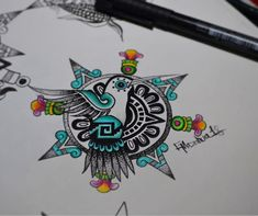 Image may contain: drawing Rose Drawing Tattoo, Tattoo Drawings, Body Art Tattoos, Small Tattoos, Tatoos, Mayan Tattoos, Mexican Art Tattoos, Aztec Tattoo Designs, Aztec Designs