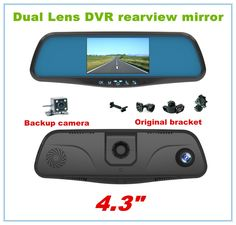 "96.11$  Buy now - http://aliwtr.worldwells.pw/go.php?t=32590948564 - ""Original bracket DVR Camera parking camera Dual lens 4.3"""" Rear view mirror car DVR FHD 1080P G-Sensor reverse"""
