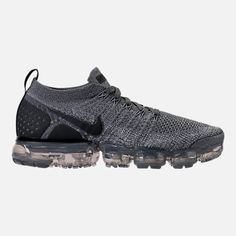 Right view of Men's Nike Air VaporMax Flyknit 2 Running Shoes in Dark Grey/White/Wolf Grey Nike Air Flyknit, Nike Air Vapormax, Mens Nike Air, Nike Men, Running Shoes Nike, Nike Basketball Shoes, Nike Shoes, White Wolf, Dark Grey