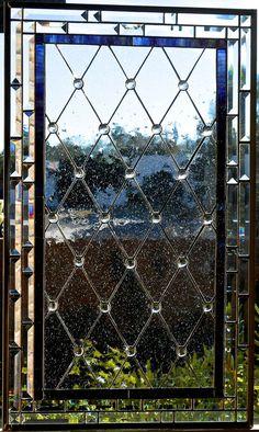 Rejilla de diamante manchado cristal de ventana o puerta de