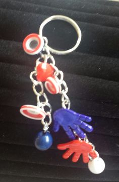Button Button Who's Got the Button Key Chain Red, White and Blue, $6