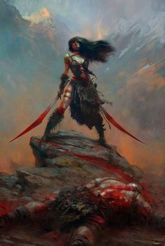 A dramatic scene involving a murderous warrior woman. Awesome art.