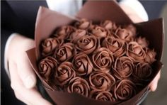 A rose bouquet is made of chocolates