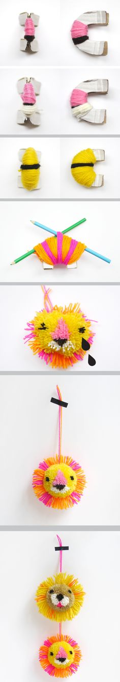 how to make a Lion pom pom great school or craft club make for kids Cute Crafts, Crafts To Do, Yarn Crafts, Crafts For Kids, Arts And Crafts, Diy Crafts, Diy Projects To Try, Craft Projects, Cadeau Baby Shower