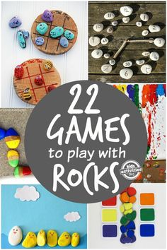 22 Fun, engaging games to play with rocks. So simple! Great for toddlers and preschoolers Activities with rocks that are educational and provide a lot of fun for kids. 22 game ideas will keep your little ones busy for a while. Great learning through play. Nature Activities, Summer Activities, Preschool Activities, Children Activities, Games For Kids, Games To Play, Learning Games, Rock Games, Rock Crafts