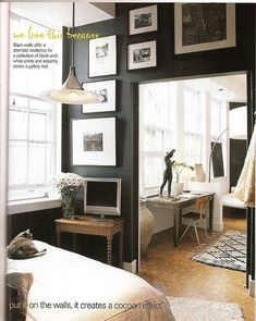 Wall Gallery Art & photos against dark painted wall make the art pop! Great Contrast!