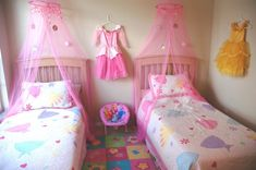 Princess Theme Bedroom • Half blue and half pink for my girls!!!! Perfect
