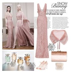 """Pink Snow"" by ilifeandstyle on Polyvore featuring Elie Saab, Jimmy Choo, Miu Miu, snow, winterfashion, winterstyle and winter2015"