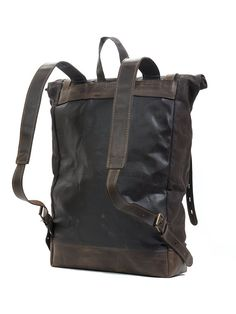 Roll top canvas leather backpack for laptop, in dark brown. Waxed Canvas Bag, Canvas Backpack, Canvas Leather, Backpack Bags, Leather Backpack, Leather Roll, Leather Bag, Brown Leather, Hipster Backpack