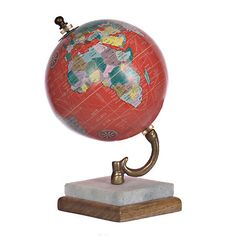 Red Globe with Marble Base | Kirklands