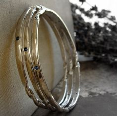 sterling silver bangle bracelet with stones : gypsy by 2TrickPony