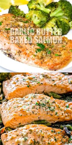 GARLIC BUTTER BAKED SALMON Tender and juicy salmon brushed with an incredible garlic butter sauce and baked on a sheet pan with your favorite veggies This delicious baked. Delicious Salmon Recipes, Best Seafood Recipes, Fish Recipes, Healthy Dinner Recipes, Cooking Recipes, Easy Salmon Recipes, Grilled Salmon Recipes, Garlic Recipes, Simple Salmon Recipe