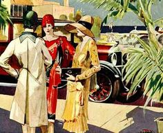 Picture above - Ladies Fashions from 1928. Note the carefully color co-ordinated outfits, varied dress lengths, bright colors, and the diverse hat styles of the fashionable women above! Unfortunately you are unable to see their shoes and stockings, so you cannot get a complete picture of their 1920's fashion outfits.
