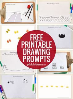 Drawing Free Printable Drawing prompts - feasy access to all our free printable drawing prompts here - Do your kids love drawing? Try one of our free printable drawing prompts. Easy Art Projects, Projects For Kids, Preschool Journals, Baby Girl Drawing, Word Drawings, Drawing Prompt, Drawing Art, Drawing Activities, Art Classroom
