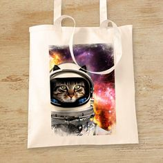 Astronaut Kitty Cat in a Space Suit Original Design 100% Cotton Natural Long-Handled Tote Bag T141 by WhiteoutFashion on Etsy