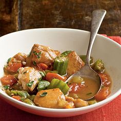 Chicken and Okra Stew+|+MyRecipes.com - made this tonight and it was delicious. I used canned tomatoes instead of fresh and recipe ready jalapenos from the freezer section.