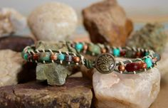 The serpent of El Morro - Sz Small Single Wrap Leather Bracelet by Leftovers4Dinner on Etsy