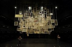 Chiharu Shiota - stage design at New National theatre Tokyo, Japan - frames of family and friends