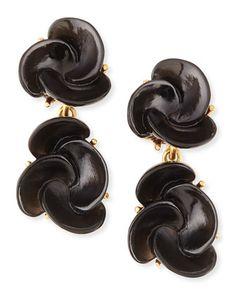 Resin Flower Clip-On Earrings, Black by Oscar de la Renta at Neiman Marcus.