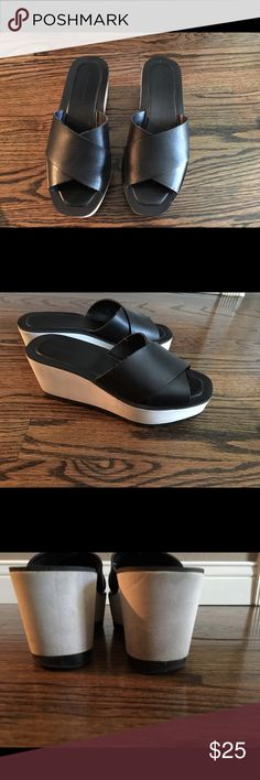Zara platform wedge sandals In good condition, I used a few times however has some wear on the sole cause of the way I walk. Pls look at the photo. Upper leather and rubber platform heels. Size 37 Zara Shoes Platforms