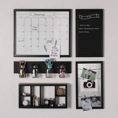 Designovation Corri 6 White/Black Wood Divided Cubby Wall Shelf