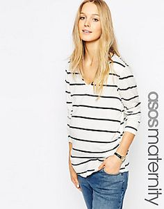 7a099467c7503 ASOS Maternity Breton Stripe Top With V Neck And Long Sleeve at asos.com