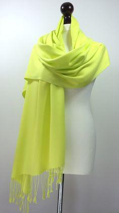 Yellow Green Pashmina Scarf, Bright Lime Citrus Yellow Pashmina Shawl,  Women Scarves, Pashmina Scarves, Designscope