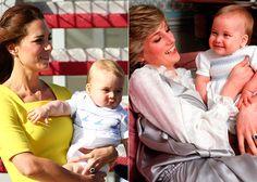 - Pesquisa Google  Na imagem à esquerda Kate Middleton com Príncipe George e á direita a princesa Diana com príncipe william em uma seção de fotos no palácio de Kensington em ...