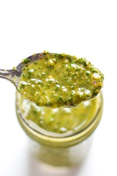 Made with simple and fresh ingredients, this Cilantro Parsley Chimichurri Sauce is bright, tangy and flavorful. It's ready in under 10 minutes and requires only one tool: a blender! Top it on your favorite meats, veggies or even sandwiches! (gluten free, vegetarian, paleo, grain free, dairy free, vegan)