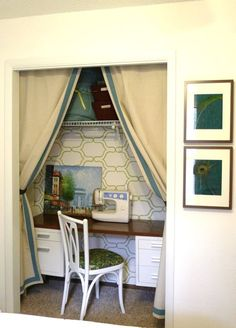 closet desk-like the curtains and stenciled wall Home Office, Guest Room Office, Closet Desk, Closet Office, Closet Doors, Alcove Desk, Closet Curtains, Welcome To My House, My New Room