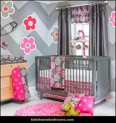 Hot Pink Floral Flowers Zig Zag Striped Baby Girls 3pc Nursery