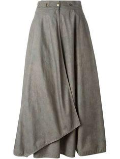 Shop Krizia Vintage long wrap skirt