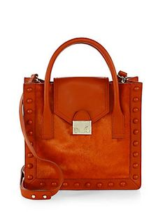 Loeffler Randall Junior Studded Calf Hair Work Tote