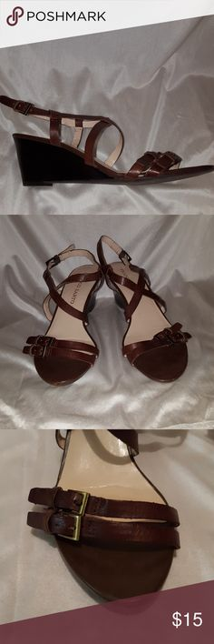 """Franco Sarto Brown Strappy Wedge Sandals 8 1/2 Franco Sarto chocolate brown leather strappy wedge sandals with 2 1/2"""" heels. """"Kindsey"""" style. Brass adjustable buckles.   Good used condition. Smoke free and pet free home. Franco Sarto Shoes Wedges"""