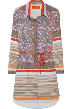 Printed Crepe de Chine Shirt Dress by Clover Canyon
